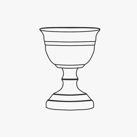 Chalice flat black outline design icon.