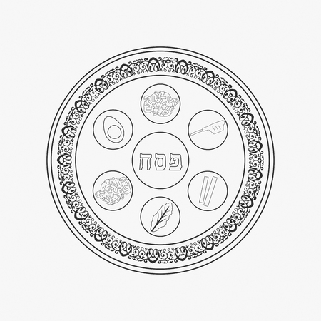 Passover holiday seder plate flat black outline design icon.