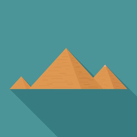 Pyramids flat long shadow design icon.