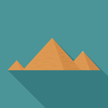 Pyramids flat long shadow design icon.