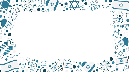 Frame with Israel Independence Day holiday flat design icons. Template with space for text, isolated on background. Stok Fotoğraf - 98769009
