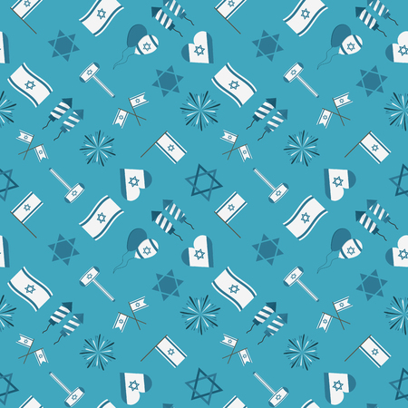 Israel Independence Day holiday flat design icons seamless pattern. Ilustração