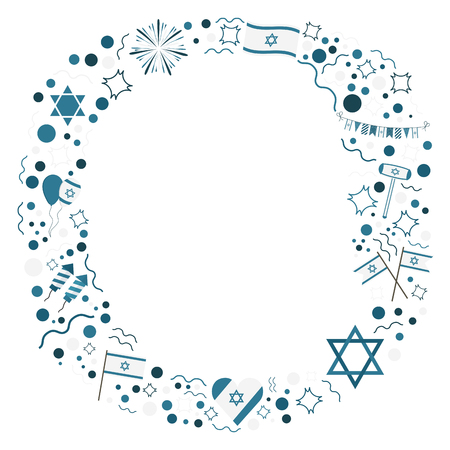 Frame with Israel Independence Day holiday flat design icons. Template with space for text, isolated on background.