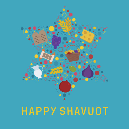 Shavuot holiday flat design icons set in star of david shape with text in english Happy Shavuot. Ilustrace