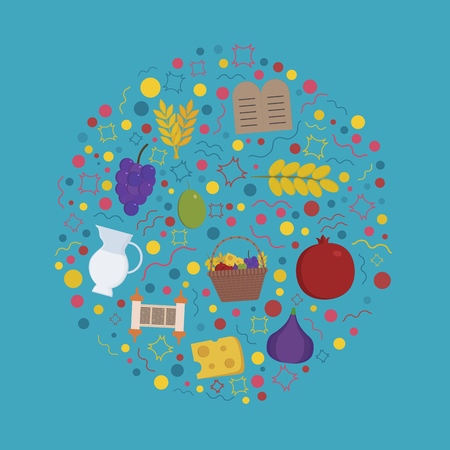 Shavuot holiday flat design icons set in round shape.