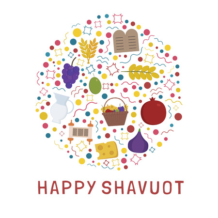 "Shavuot holiday flat design icons set in round shape with text in english ""Happy Shavuot""."