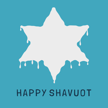 Shavuot holiday flat design icon of milk dripping in star of david shape with text in english Happy Shavuot. Ilustrace