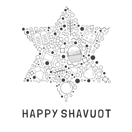 Shavuot holiday flat design black thin line icons set in star of David shape with text in English