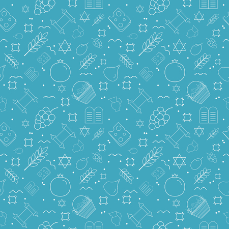 Shavuot holiday flat design white thin line icons seamless pattern.