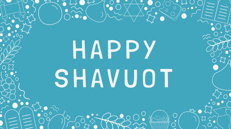 Frame with Shavuot holiday flat design white thin line icons with text in English Happy Shavuot. Template with space for text, isolated on background. Ilustracja