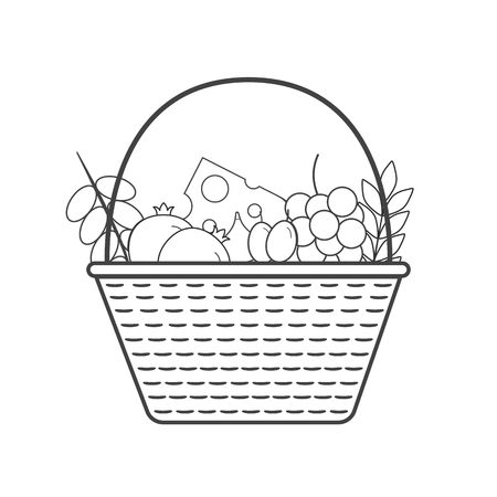 Wicker basket with fruits and dairy products icon in black flat outline design. Harvest Shavuot holiday concept.