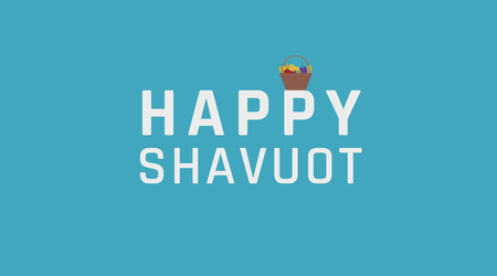 Shavuot holiday greeting with harvest wicker basket icon and english text