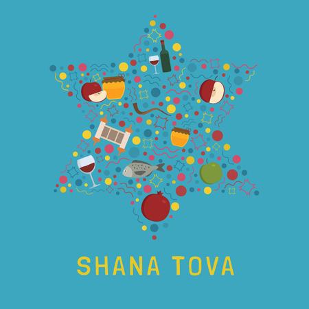 Rosh Hashanah holiday flat design icons set in star of david shape with text in english Shana Tova.