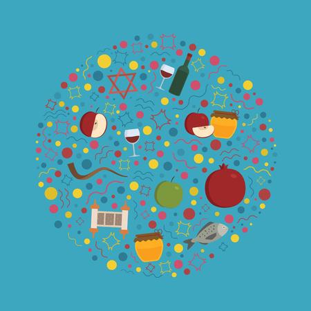 Rosh Hashanah holiday flat design icons set in round shape.