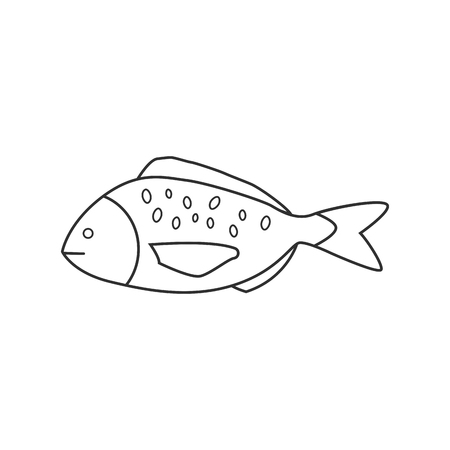Fish icon in black flat outline design. 스톡 콘텐츠 - 107253938