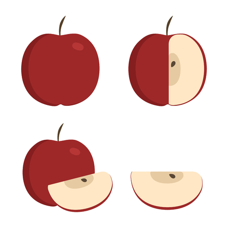 Red apple icons set in flat design. Whole, half and slice apples.