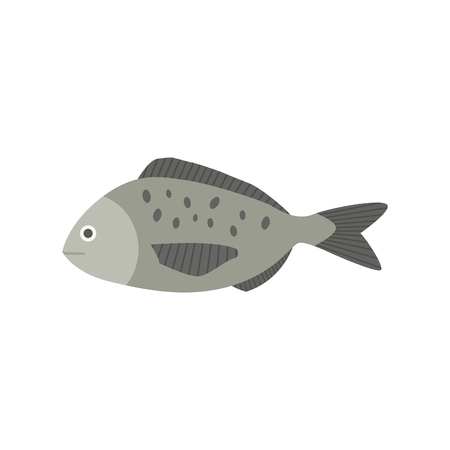 Gray fish icon in flat design
