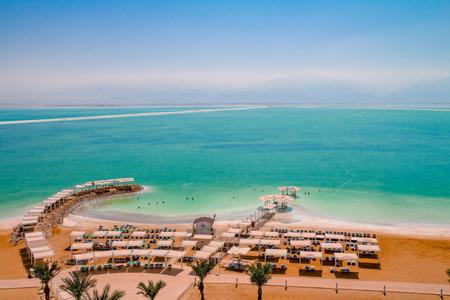 Aerial view of the Dead Sea beach area of Ein Bokek resort in Israel. Imagens