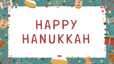 Frame with Hanukkah holiday flat design icons with text in english