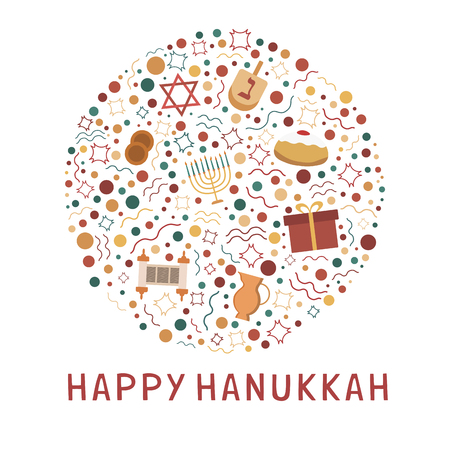 """Hanukkah holiday flat design icons set in round shape with text in english """"Happy Hanukkah""""."""