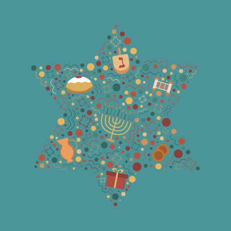 Hanukkah holiday flat design icons set in star of david shape. Vettoriali