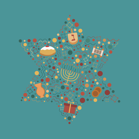 Hanukkah holiday flat design icons set in star of david shape. Illustration