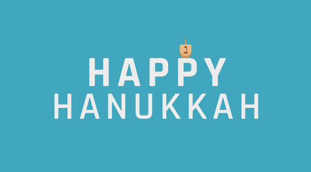 Hanukkah holiday greeting with dreidel icon and english text