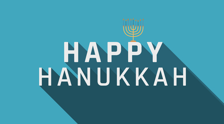 "Hanukkah holiday greeting with menorah icon and english text ""Happy Hanukkah"". flat design."