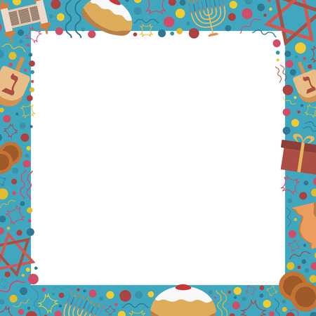 Frame with Hanukkah holiday flat design icons. Template with space for text, isolated on background.