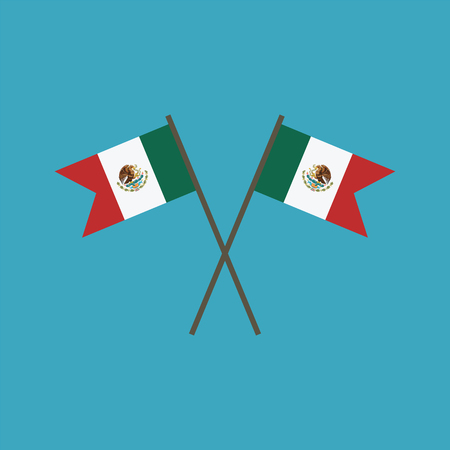 Mexico flag icon in flat design. Independence day or National day holiday concept.
