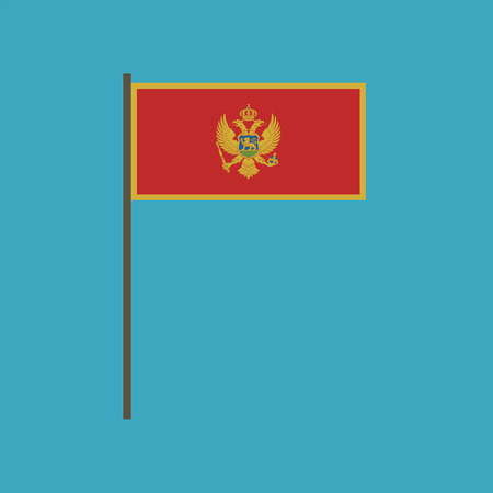Montenegro flag icon in flat design. Independence day or National day holiday concept. Illustration