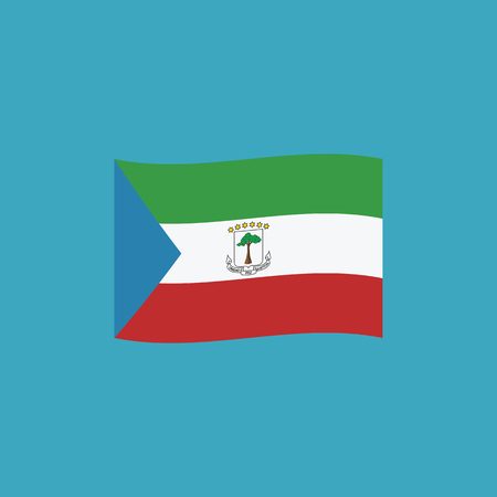 Equatorial Guinea flag icon in flat design. Independence day or National day holiday concept. Stock Illustratie