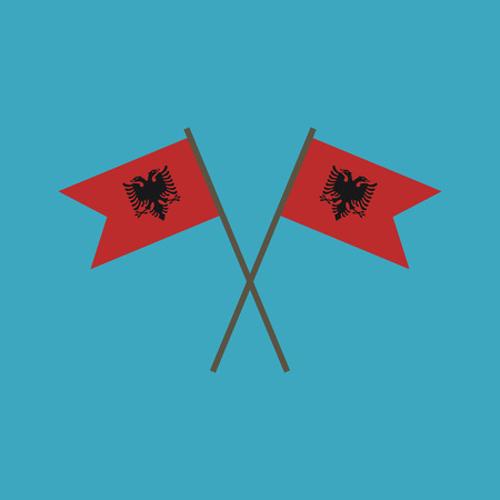 Albania flag icon in flat design. Independence day or National day holiday concept.