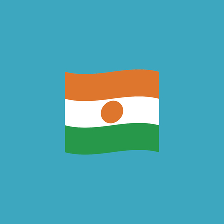 Niger flag icon in flat design. Independence day or National day holiday concept. Stock Illustratie
