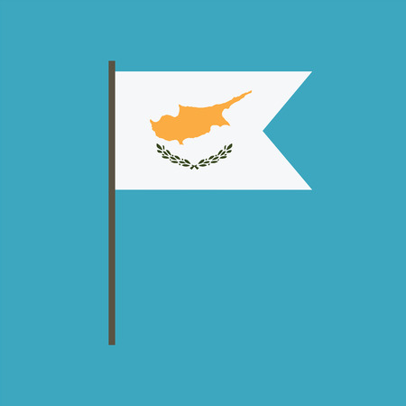 Cyprus flag icon in flat design. Independence day or National day holiday concept. 向量圖像