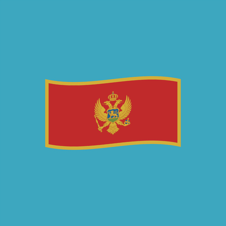 Montenegro flag icon in flat design. Independence day or National day holiday concept.