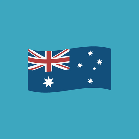 Australia flag icon in flat design. Independence day or National day holiday concept.