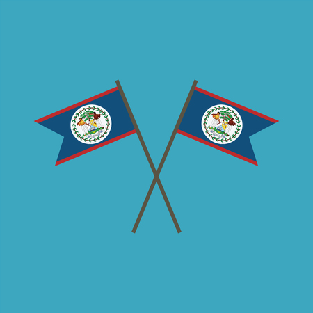 Belize flag icon in flat design. Independence day or National day holiday concept.