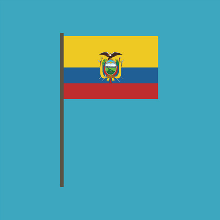 Ecuador flag icon in flat design. Independence day or National day holiday concept.