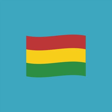 Bolivia flag icon in flat design. Independence day or National day holiday concept.
