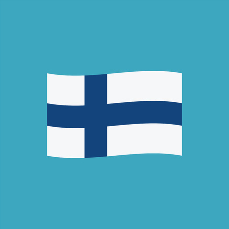 Finland flag icon in flat design. Independence day or National day holiday concept.