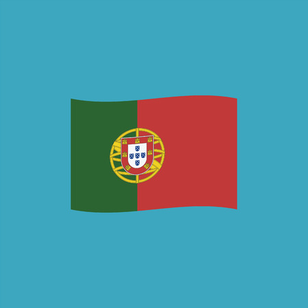 Portugal flag icon in flat design. Independence day or National day holiday concept.