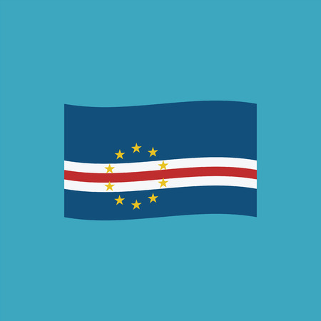 Cape Verde flag icon in flat design. Independence day or National day holiday concept.