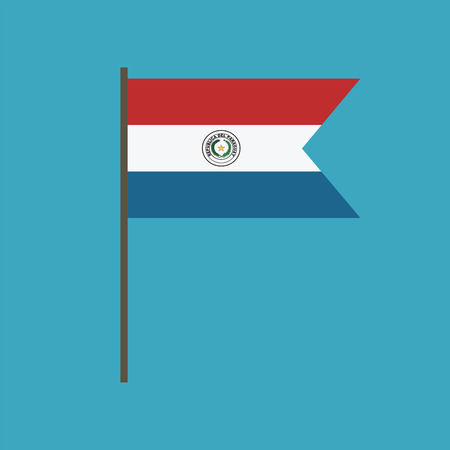 Paraguay flag icon in flat design. Independence day or National day holiday concept. Stock Illustratie