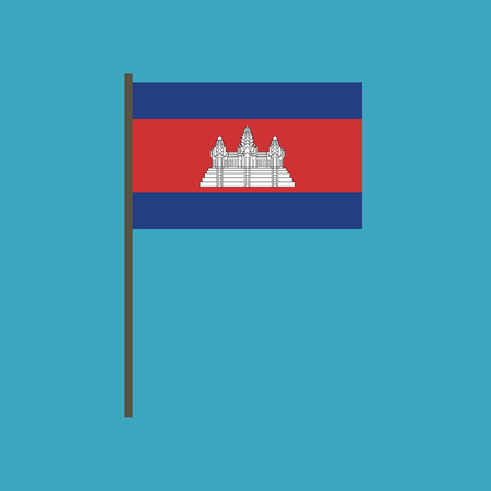 Cambodia flag icon in flat design. Independence day or National day holiday concept. Ilustração