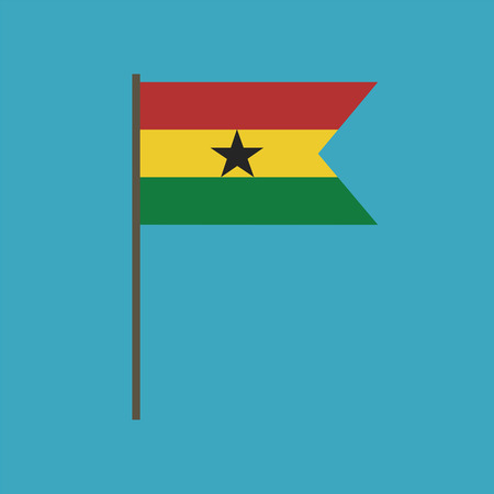 Ghana flag icon in flat design. Independence day or National day holiday concept.