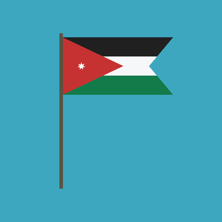 Jordan flag icon in flat design. Independence day or National day holiday concept.