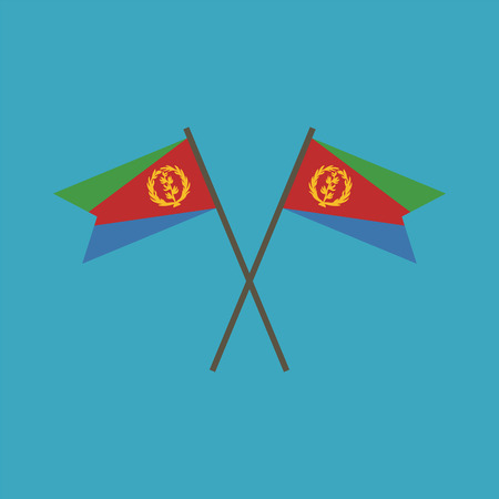 Eritrea flag icon in flat design. Independence day or National day holiday concept.