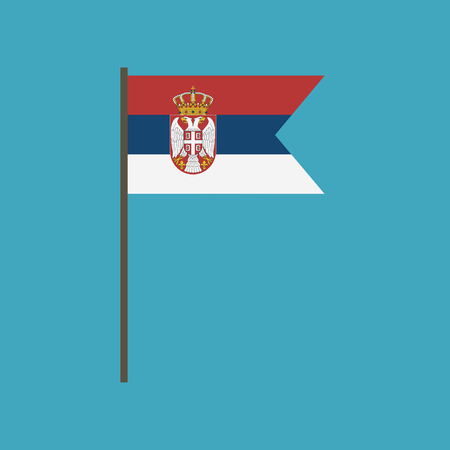 Serbia flag icon in flat design. Independence day or National day holiday concept.