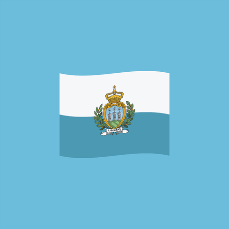 San Marino flag icon in flat design. Independence day or National day holiday concept.